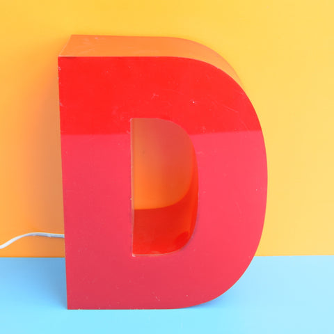 Vintage Illuminated Letter D - Red Perspex