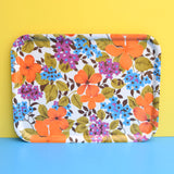 Vintage 1960s Flower Power Tray - Orange & Blue