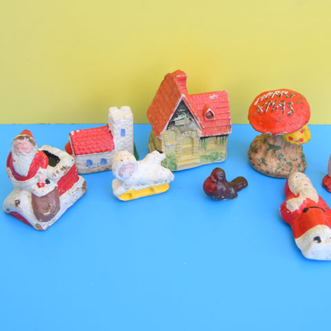 Vintage 1950s Small Ceramic Christmas Cake Decorations