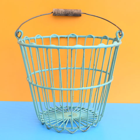 Vintage 1950s Storage Basket / Bucket - Curfew - Arsenic Green