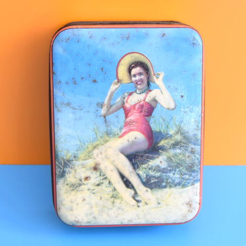 Vintage 1950s Small Toffee Tin - Pin-Up Girl - Beach
