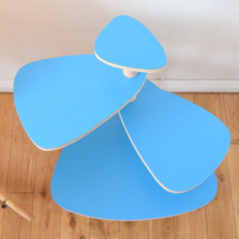 Vintage Formica Tiered Plant Stand / Table - Turquoise