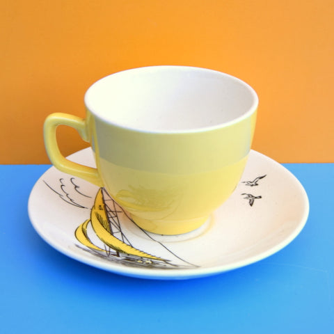 Vintage 1950s Palissy Regatta Coffee Cup & Saucer- Boat - Yellow