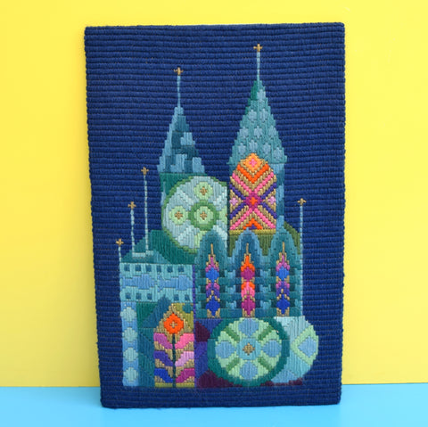 Vintage 1970s Tapestry Picture - Buildings - Blue, Gold, Orange