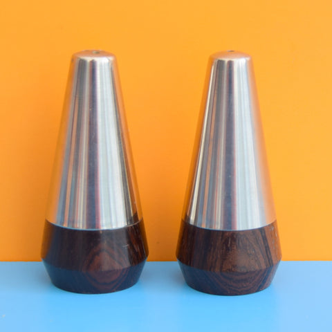 Vintage 1960s Stainless Steel / Rosewood Mini Salt & Pepper - Danish