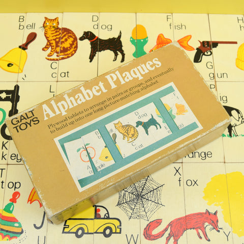 Vintage 1980s Alphabet Plaques - Wooden- by Galt (Boxed)