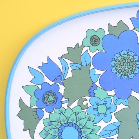 Vintage 1970s Flower Power M&S Tray - Blue & Turquoise .
