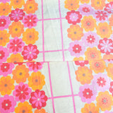 Vintage 1960s Double Bed Cover - flower Power With Fringe - Pink & Orange