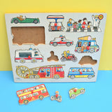 Vintage 1980s Wooden Peg Jigsaw Puzzle - by Galt - Transport