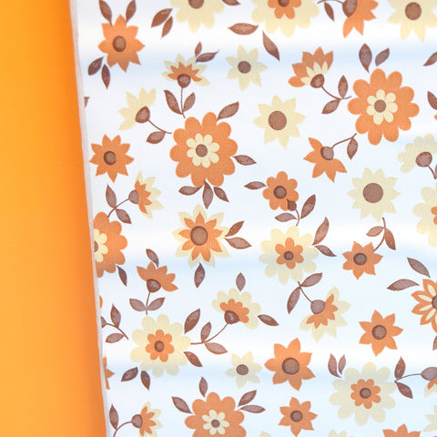 Vintage 1970s Sticky Plastic / Fablon Roll - Flower Power - Brown