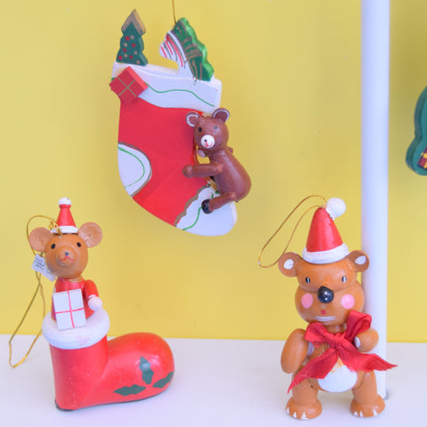 Vintage 1970s Wooden Christmas Decorations x5