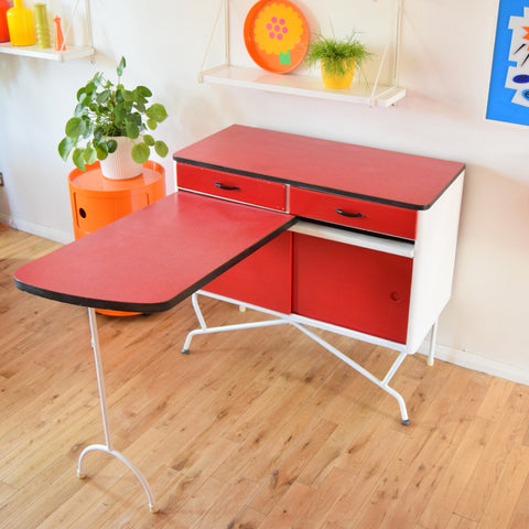 Vintage 1950s Amazing Formica Kitchen Cabinet / Table - Red