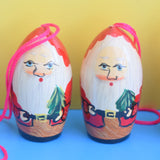 Vintage 1970s Wooden Santa Christmas Decorations 6 - German