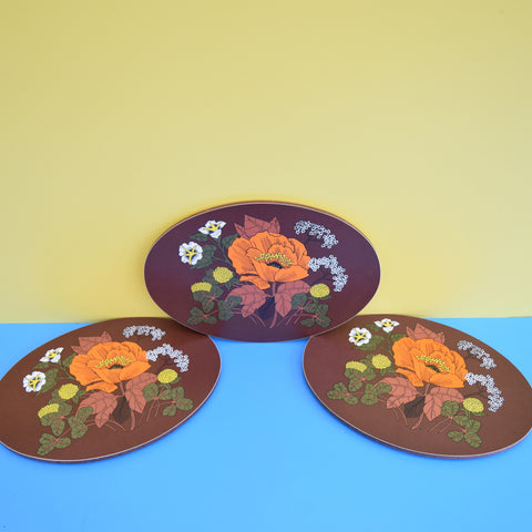 Vintage 1970s M&S Placemats x10 / Pan Stands - Poppy - Brown