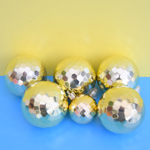 Vintage 1970s Plastic Christmas Disco Ball Decorations - Gold x6