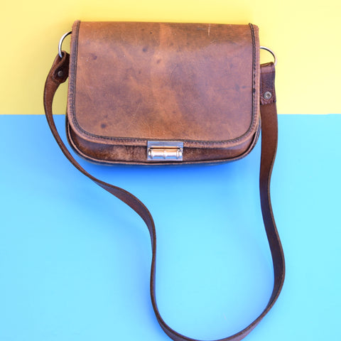 Vintage 1970s Leather Saddle Shoulder Bag - Brown