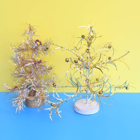 Vintage 1960s Small Tinsel Christmas Tree - Gold or Silver