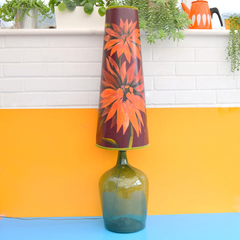 Vintage 1960s Floor Lamp - Glass Base - Hand Painted Original Shade
