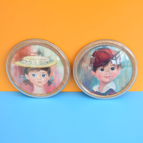 Vintage Kitsch 1960s Shabner Style Girl & Boy Round Pictures