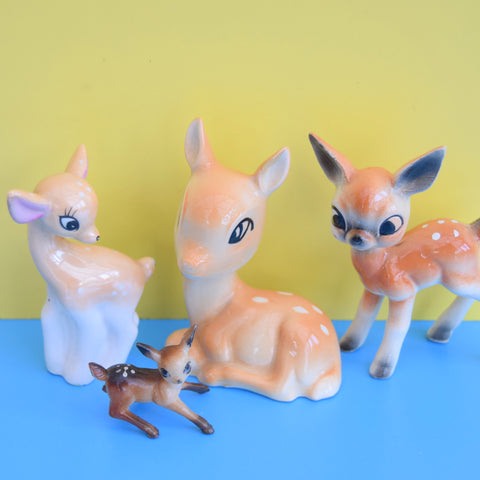 Vintage 1960s Bambi Mixed Family Kitsch Ornaments x4