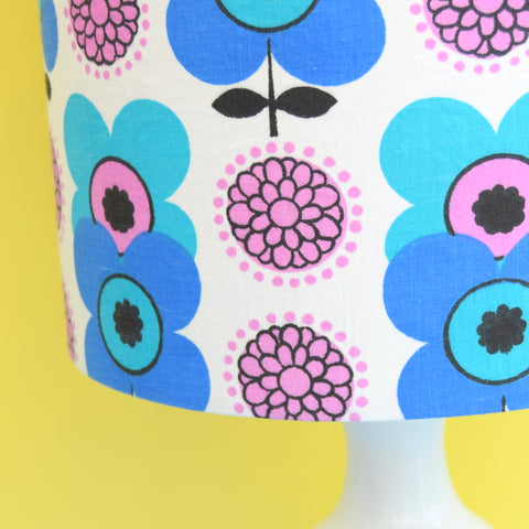 Vintage 1960s Ceramic Lamp & Shade - Flower Power - Blue