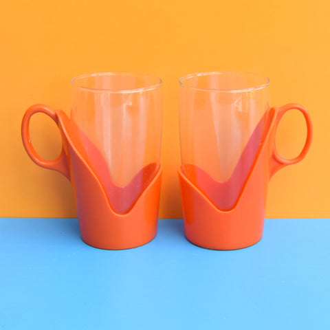 Vintage 1960s Drink-Up Glass Mugs x2 - Orange