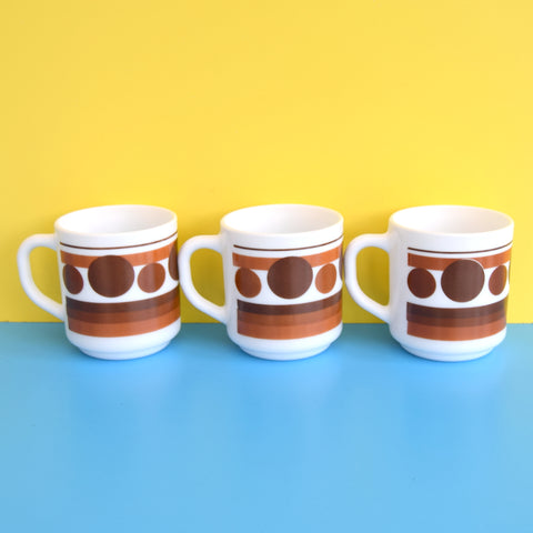 Vintage 1960s Mugs - France - Pyrex - Brown Geometric
