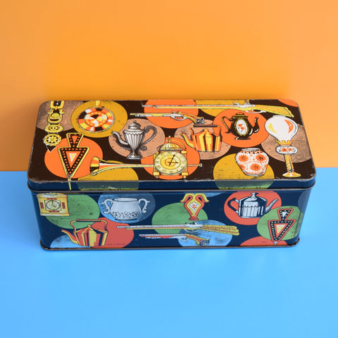Vintage 1970s Tin - Household Items - Orange & BLack