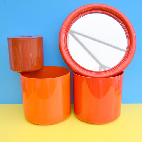 Vintage 1970s Habitat Crayonne Containers / Mirror - Orange / Red