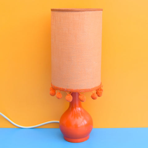 Vintage 1960s Small Wooden Table Lamp - Orange