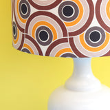 Vintage 1960s Ceramic Lamp & Shade - Geometric - Brown