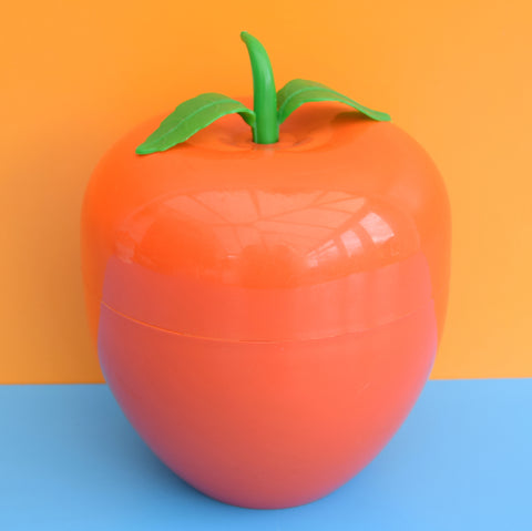 Vintage 1970s Plastic Apple / Tomato Ice Bucket - Orange .