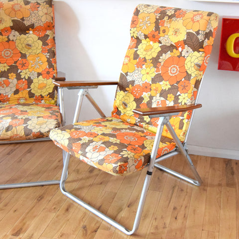 Vintage 1960s Reclining Garden Chairs - Flower Power - Orange