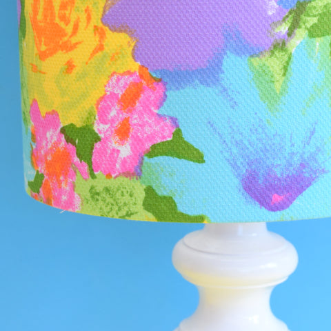 Vintage 1960s Plaster Table Lamp - Flower Shade - Pink & Turquoise