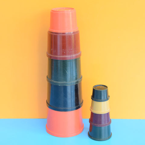 Vintage 1960s Plastic Building Beakers - Kiddicraft -Tonal Colours