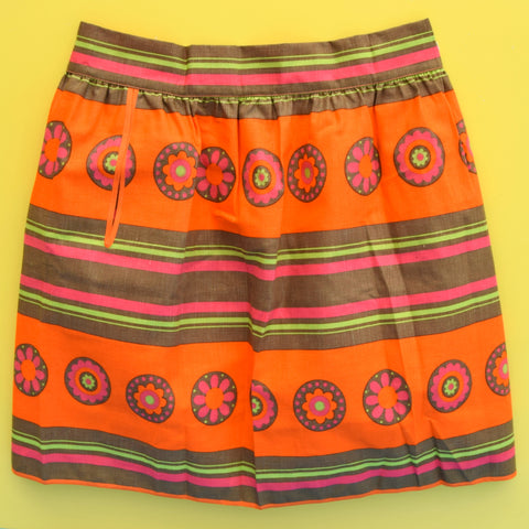Vintage 1960s M&S Flower Power Half Apron - Orange, Pink & Green