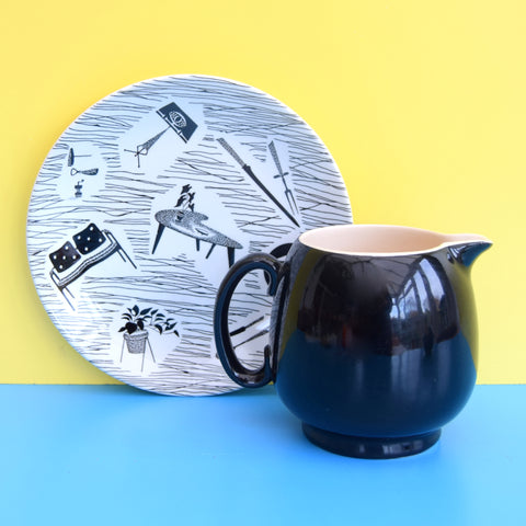 Vintage 1950s Custard Jug / Bowl Ridgway Homemaker - Black