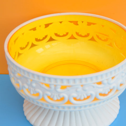 Vintage 1960s Dialene - Plastic Planter / Container - Yellow & White