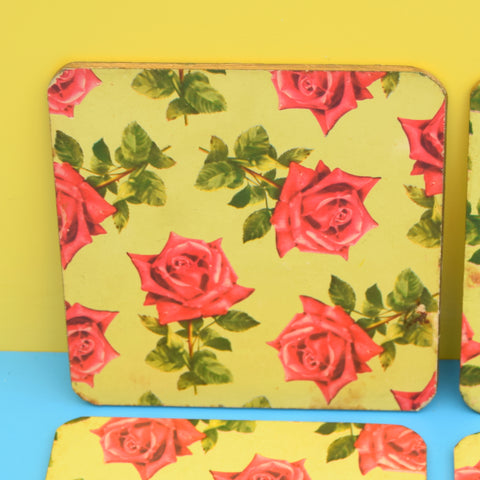 Vintage 1950s Square Place Mats x6 - Pink Roses On Green