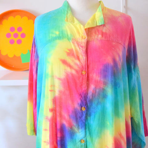 Vintage 1980s Cotton Shirt Dress - Tie Dye - Rainbow