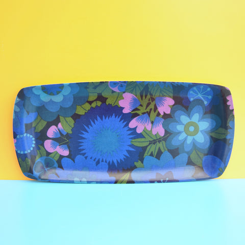 Vintage 1960s Long Flower Power Thetford Tray - Blue