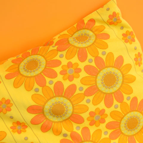 Vintage 1960s Cushion & Pad - Flower Power - Orange & Yellow