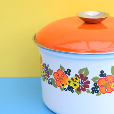 Vintage 1960s Enamel Sauce Pan - Orange & Green Flower Power
