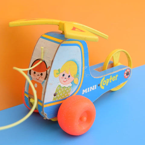 Vintage 1970s Fisher Price - Mini Copter - Classic Toy - Wooden
