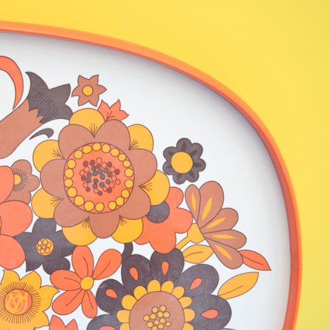 Vintage 1960s Flower Power M&S Tray - Orange & White .