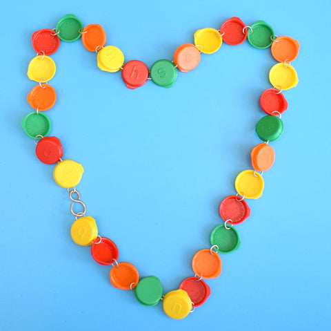 Vintage 1990s Fun Plastic Jewellery - Smarties Lid Necklace
