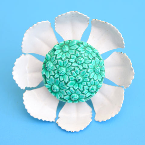 Vintage 1960s Enamel Ring - Large Flower Design - Turquoise & White