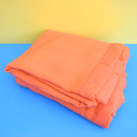 Vintage 1960s Large Warm Blanket / Throw - Vibrant Orange