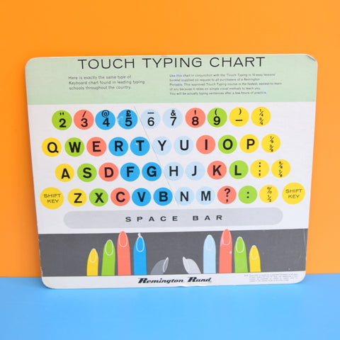 Vintage 1960s Remington Rand Touch Typing Chart - Art