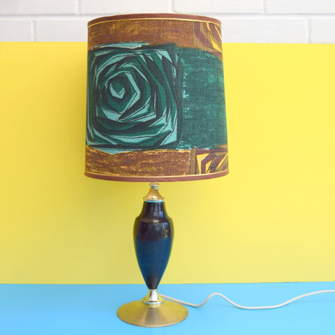 Vintage 1950s Lamp - Amazing Barkcloth Shade - Black & Turquoise